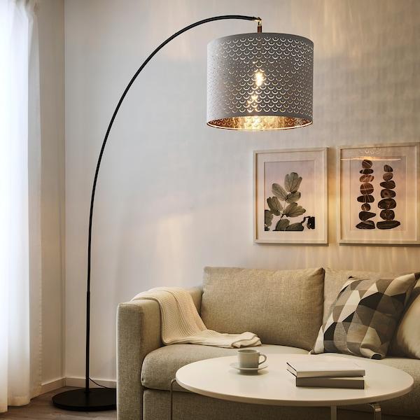 NYMÖ / SKAFTET Floor lamp, arched, white/brass-colour