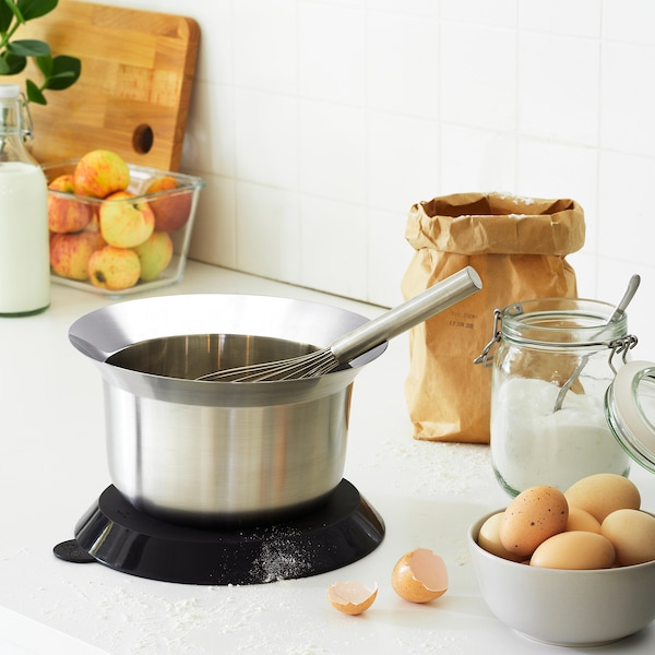 OMTÄNKSAM mixing bowl with lid stainless steel/light grey 14 cm 24 cm 2.5 l
