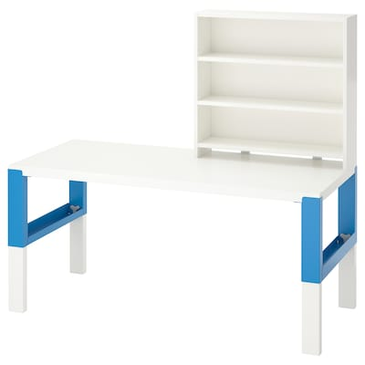 PÅHL Desk with shelf unit, white/blue, 128x58 cm