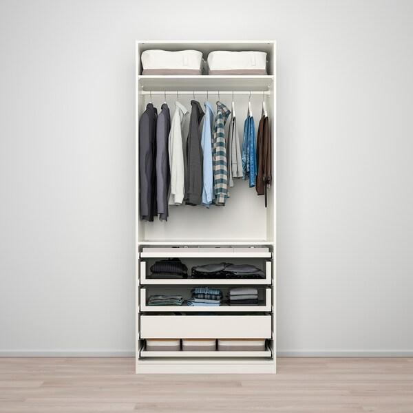 PAX / BERGSBO تشكيلة خزانة ملابس., أبيض/زجاج محبب, 100x60x236 سم