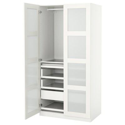 PAX / BERGSBO تشكيلة خزانة ملابس., أبيض/زجاج محبب, 100x60x201 سم