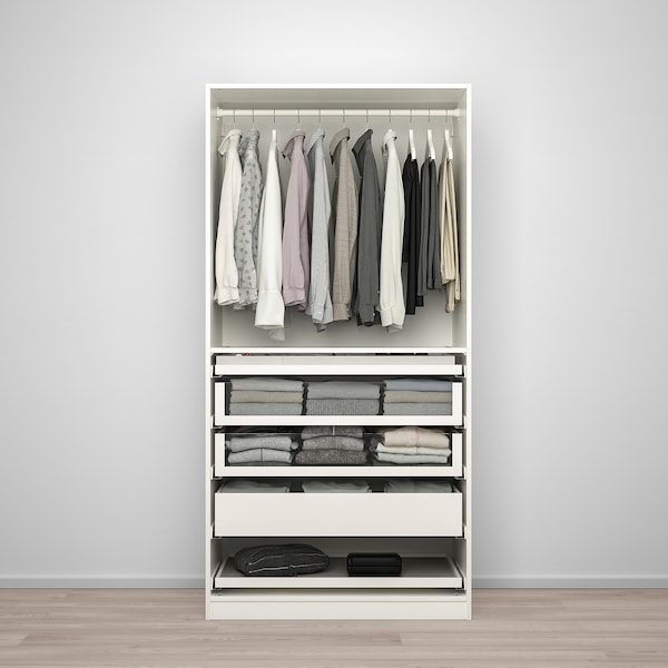 PAX / BERGSBO wardrobe combination white/frosted glass 100.0 cm 60.0 cm 201.2 cm