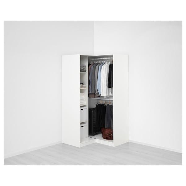 PAX خزانة ملابس زاوية, أبيض/Grimo أبيض, 111/111x201 سم
