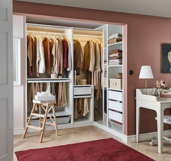 PAX خزانة ملابس زاوية, أبيض, 210/160x201 سم