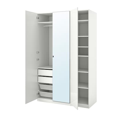 PAX / FARDAL/VIKEDAL تشكيلة خزانة ملابس., لامع أبيض/زجاج مرايا, 150x60x236 سم