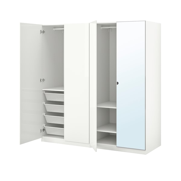 PAX / FARDAL/VIKEDAL تشكيلة خزانة ملابس., لامع أبيض/زجاج مرايا, 200x60x201 سم
