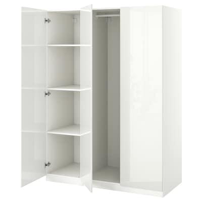 PAX / FARDAL تشكيلة خزانة ملابس., أبيض/لامع أبيض, 150x60x201 سم