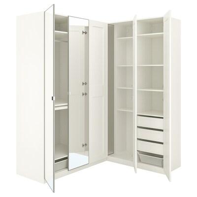 PAX / GRIMO/VIKEDAL خزانة ملابس زاوية, أبيض/زجاج مرايا, 210/160x236 سم