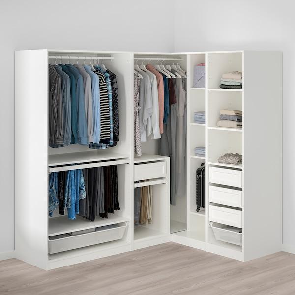 PAX / GRIMO/VIKEDAL خزانة ملابس زاوية, أبيض/زجاج مرايا, 210/160x201 سم