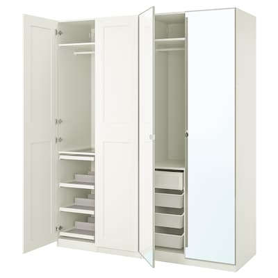 PAX / GRIMO/VIKEDAL تشكيلة خزانة ملابس., أبيض/زجاج مرايا, 200x60x236 سم