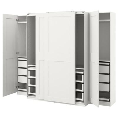 PAX / GRIMO تشكيلة خزانة ملابس., أبيض, 250x66x201 سم