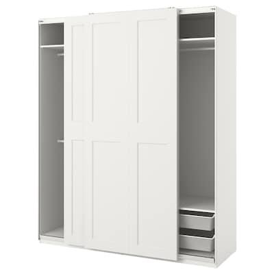 PAX / GRIMO تشكيلة خزانة ملابس., أبيض, 200x66x236 سم