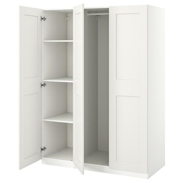 PAX / GRIMO تشكيلة خزانة ملابس., أبيض, 150x60x201 سم