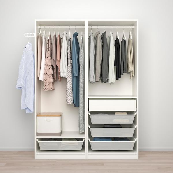 PAX / HOKKSUND تشكيلة خزانة ملابس., أبيض/لامع رمادي فاتح, 150x66x201 سم