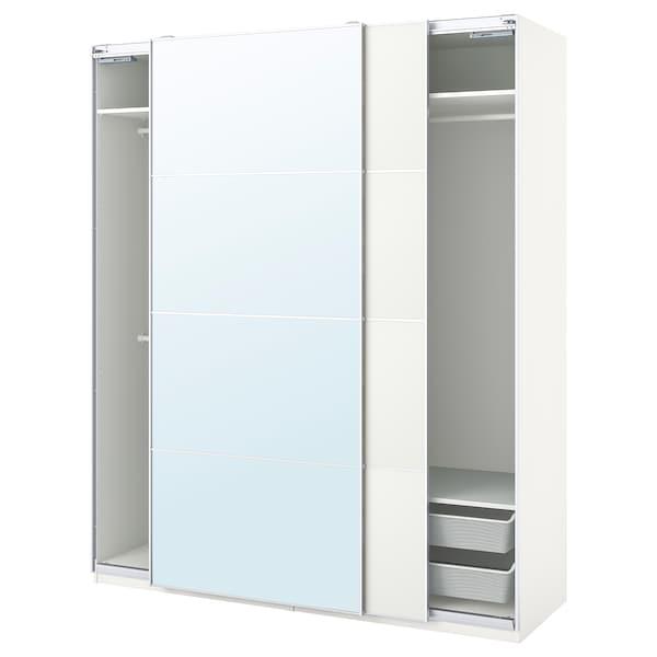 PAX / MEHAMN/AULI تشكيلة خزانة ملابس., أبيض/زجاج مرايا, 200x66x236 سم