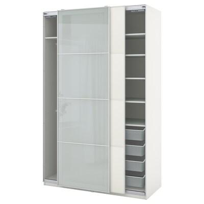 PAX / MEHAMN/SEKKEN تشكيلة خزانة ملابس., أبيض/زجاج محبب, 150x66x236 سم