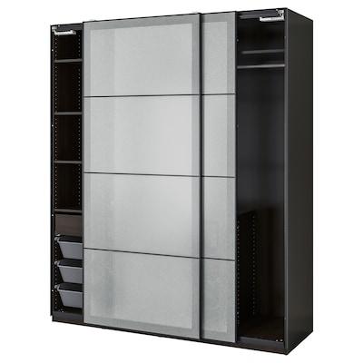 PAX / SVARTISDAL تشكيلة خزانة ملابس., أسود-بني/أبيض تأثير الورق, 200x66x236 سم