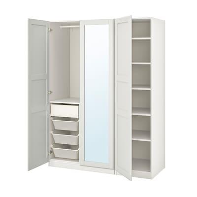 PAX / TYSSEDAL تشكيلة خزانة ملابس., أبيض/زجاج مرايا, 150x60x201 سم