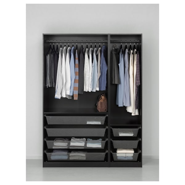 PAX خزانة ملابس, أسود-بني/Forsand مظهر الدردار أسود-بني, 150x60x201 سم
