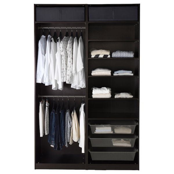 PAX خزانة ملابس, أسود-بني/Hasvik أبيض/لامع, 150x66x236 سم