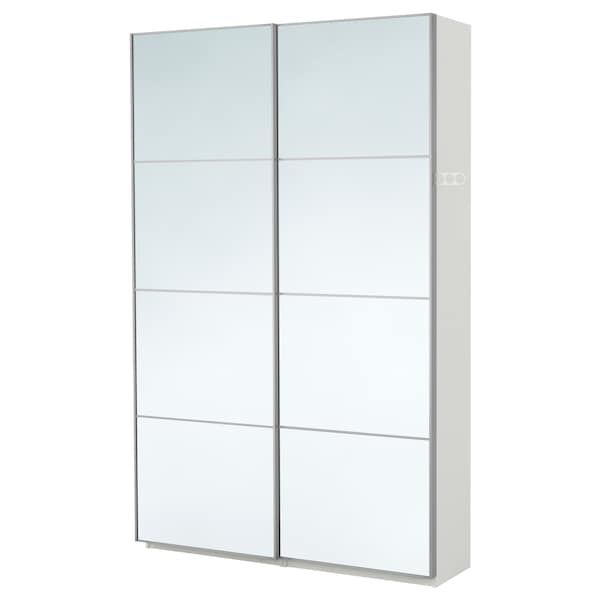 PAX wardrobe white/Auli mirror glass 150.0 cm 44.0 cm 236.4 cm