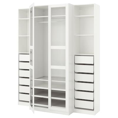 PAX Wardrobe, white/Tyssedal glass, 200x60x236 cm