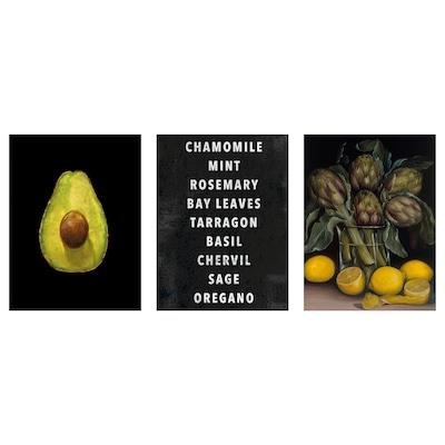 PJÄTTERYD Picture, set of 3, Artichokes and lemons, 30x40 cm