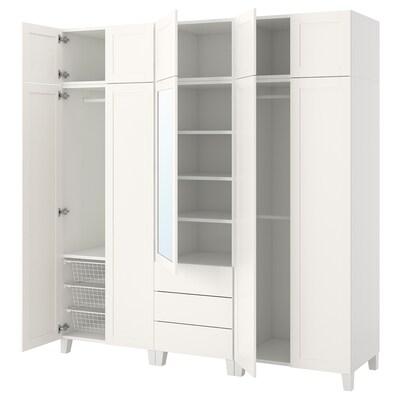 PLATSA خزانة ملابس, أبيض/Sannidal Ridabu, 220x57x231 سم