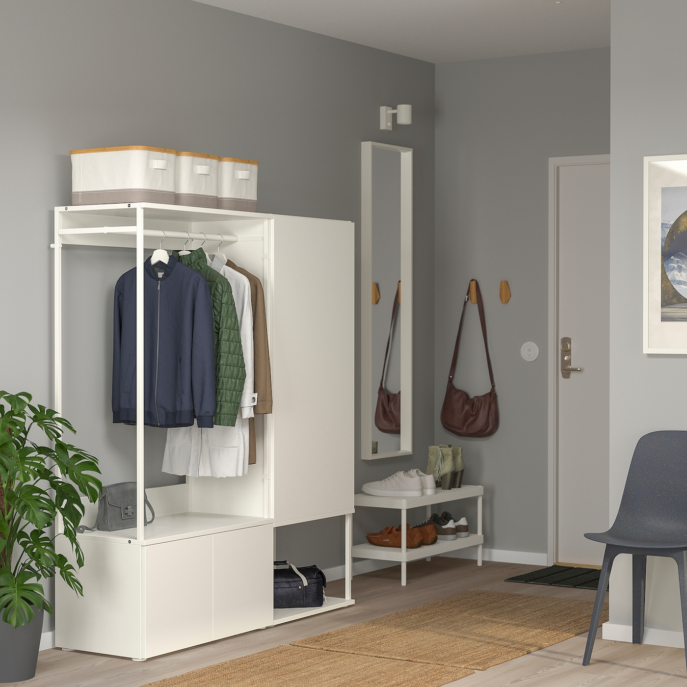 PLATSA خزانة ملابس مع 3 أبواب, أبيض/Fonnes أبيض, 140x42x161 سم