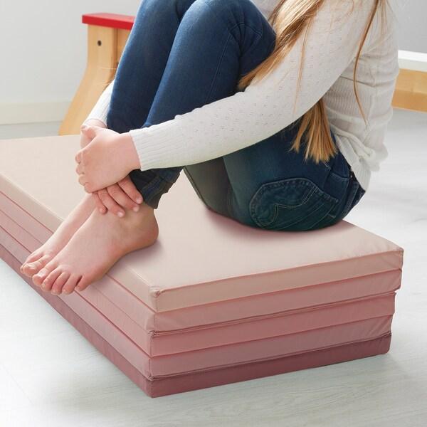 PLUFSIG Folding gym mat, pink, 78x185 cm
