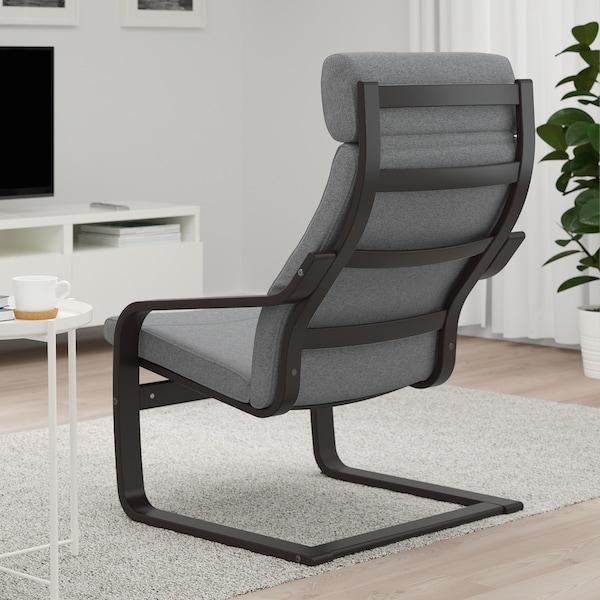 POÄNG Armchair, black-brown/Lysed grey