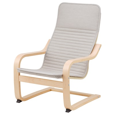 POÄNG كرسي بذراعين للأطفال, قشرة بتولا/Knisa بيج فاتح