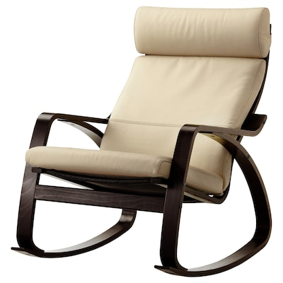 POÄNG Rocking-chair, black-brown/Glose eggshell