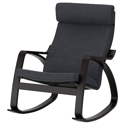 POÄNG Rocking-chair, black-brown/Hillared anthracite