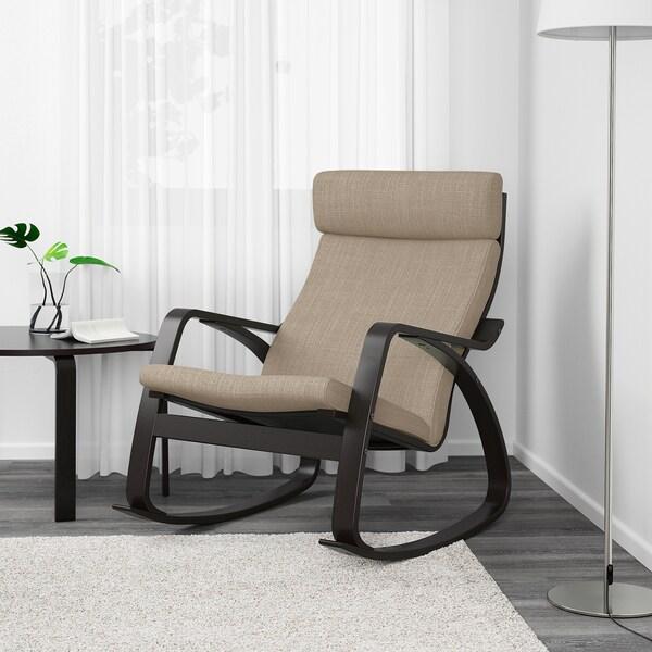 POÄNG كرسي هزّاز, أسود-بني/Hillared بيج