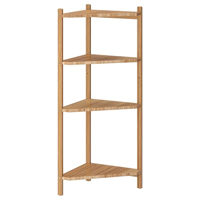 RÅGRUND Corner shelf unit, bamboo, 34x99 cm