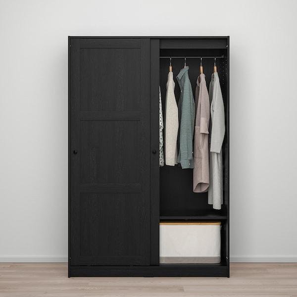 RAKKESTAD خزانة ملابس مع باب منزلق, أسود-بني, 117x176 سم
