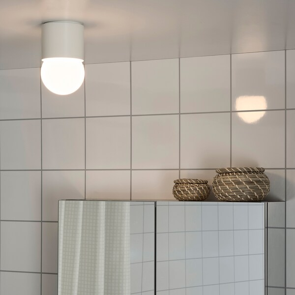 RAKSTA LED ceiling/wall lamp, white, 15x9.5 cm