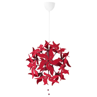 RAMSELE Pendant lamp, flower/dark red, 43 cm