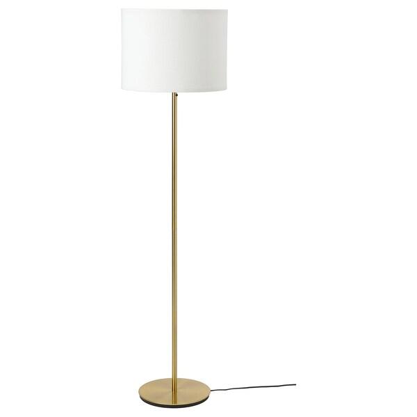 RINGSTA / SKAFTET Floor lamp, white/brass