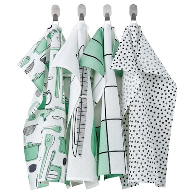 RINNIG Tea towel, white/green/patterned, 45x60 cm
