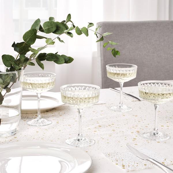 SÄLLSKAPLIG Glass, clear glass/patterned, 21 cl