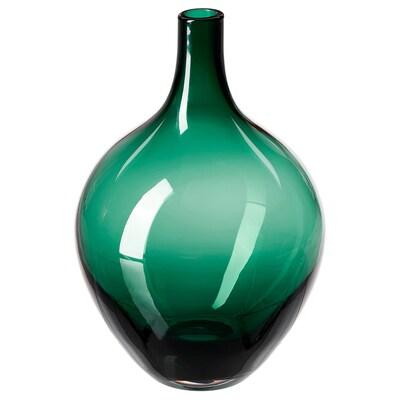 SALONG Vase, dark green, 20 cm