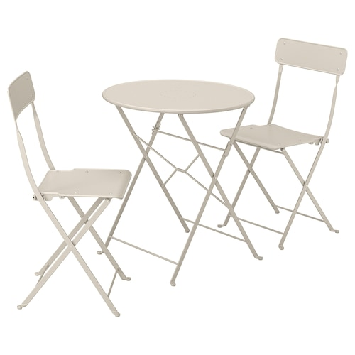 SALTHOLMEN table+2 folding chairs, outdoor beige