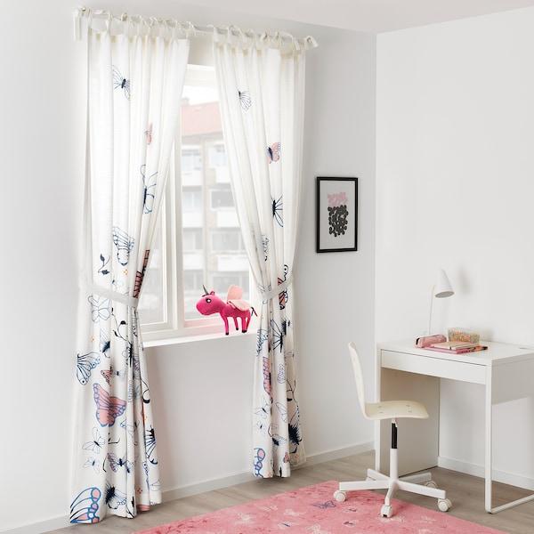 SÅNGLÄRKA Curtains with tie-backs, 1 pair, butterfly/white blue, 120x300 cm