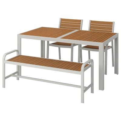 SJÄLLAND طاولة+2كراسي+مصطبة، خارجية, بني فاتح/رمادي فاتح, 156x90 سم