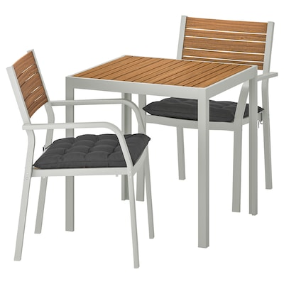 SJÄLLAND Table+2 chairs w armrests, outdoor, light brown/Hållö black, 71x71x73 cm