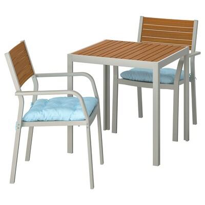 SJÄLLAND Table+2 chairs w armrests, outdoor, light brown/Kuddarna light blue, 71x71x73 cm