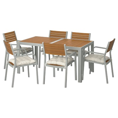 SJÄLLAND Table+6 chairs w armrests, outdoor, light brown/Kuddarna beige, 156x90 cm