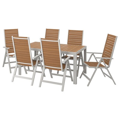 SJÄLLAND Table+6 reclining chairs, outdoor, light brown/light grey, 156x90 cm